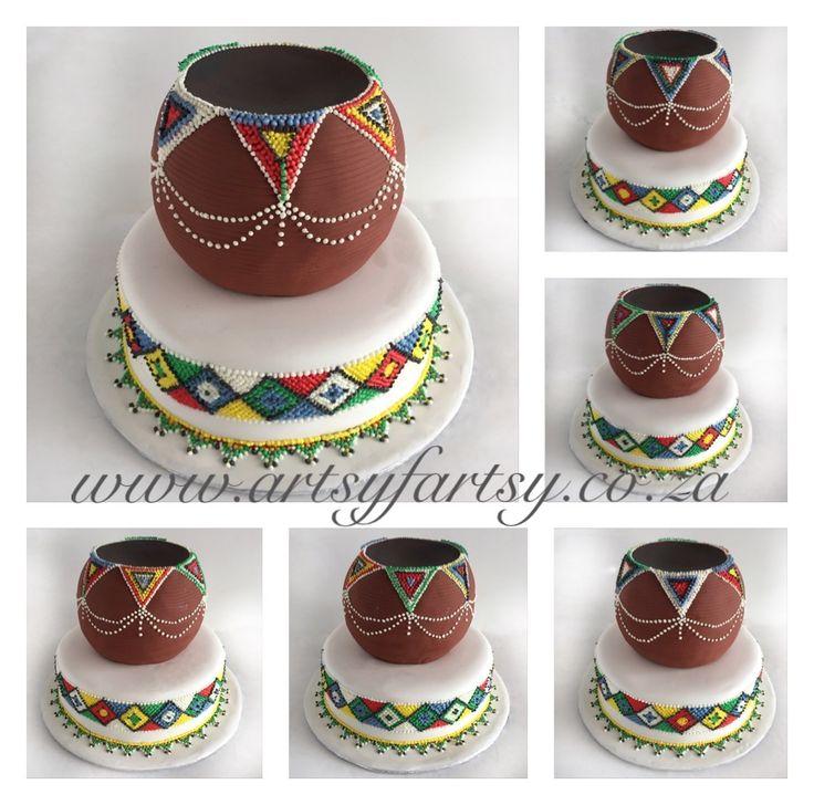African Pot Wedding Cake #africanpotweddingcake