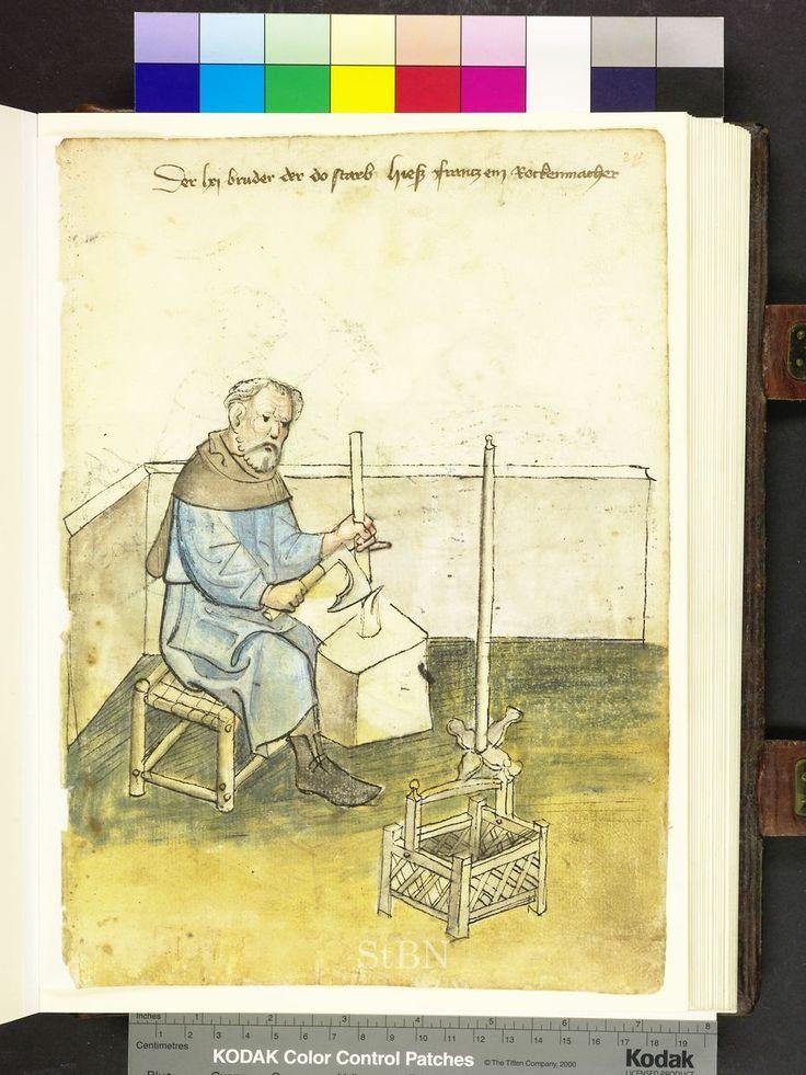 Felsbildhauer, Mendel Housebok, Amb. 317,2 ° Folio 28 recto, um 1425, Nürnberg (…