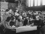 Frank Lloyd Wright and members of the Taliesin Fellowship at Taliesin, Spring Green, Wisconsin,1937