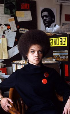 """ Kathleen Cleaver photographed by Jeff Blankfort, 1968 "" Kathleen Cleaver (1945 -) moved to San Francisco in 1967 to join The Black Panther Party..Cleaver became the communications secretary & the first female member of the Party's decision-making body."