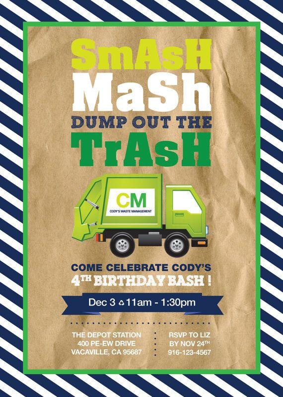Garbage Truck Birthday Party Invitation - 5x7 - by LizBasseyStudios