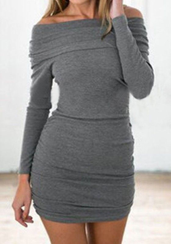 Grey Plain Boat Neck Fashion Cotton Mini Dress