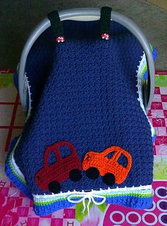 car seat cover...the possibilities are endless.  Would also be cute with pink yarn and flowers for a girl.
