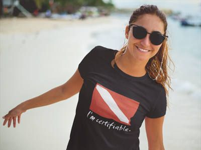 If you love to scuba dive, your friends might think that you are certifiable! Our womens scuba diving tee is 4.5oz Pre-Shrunk, 100% Combed ring-spun Cotton Jersey. This t-shirt is both comfortable and flattering. Wear it alone or layered – this shirt is so soft, you wont want to take it off! Wear it on the yoga mat or to the beach to let everyone know how you stay in balance! Namaste! Our shirts are made in sweat shop free, child labor free factories and are WRAP Certified (Worldwide…