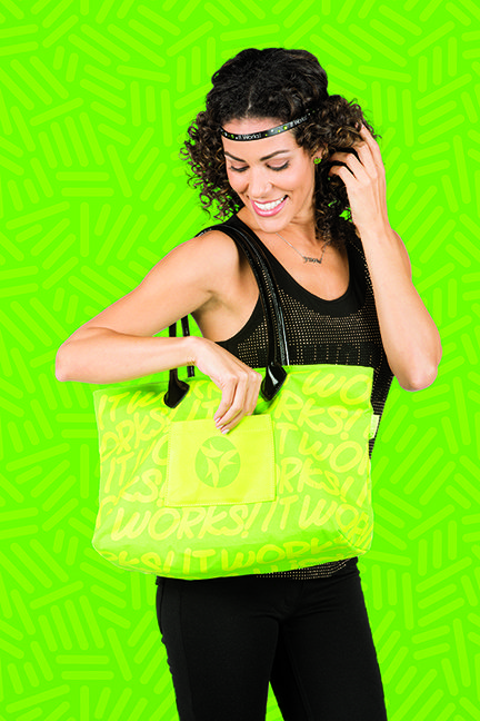 Find this look at www.myitworksstore.com // The It Works! Style Maven Tote, It Works! Signature Necklace, Bling Headband   #accessories #style #itworks