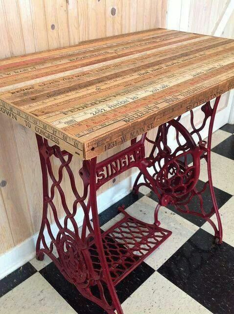 Old sewing machine base would make an adorable sewing table