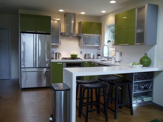 Bright Double Green Kitchen