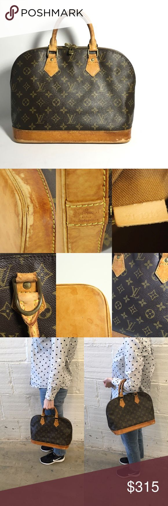 Authentic Louis Vuitton Alma Bag No lowballing, no trade!  SN: VI 1914 OK condition with signs of wear Canvas shows minor whitish marks in a few spots, minor scuff marks.  Leather trims have discoloration, stains, scuffing, minor cracks, scratches.  Leather bottom part has stains, discoloration, cracks, rubbing.  Corners show abrasion, heavy rubbing, minor cracks.  Handles have discoloration, rubbing, scuffing, aging. Hardware shows tarnishing.  Interior shows minor snags on canvas, minor…