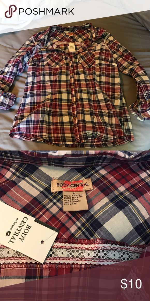 Body Central Flannel This is a lightweight material. Really soft and never worn! Body Central Tops Button Down Shirts