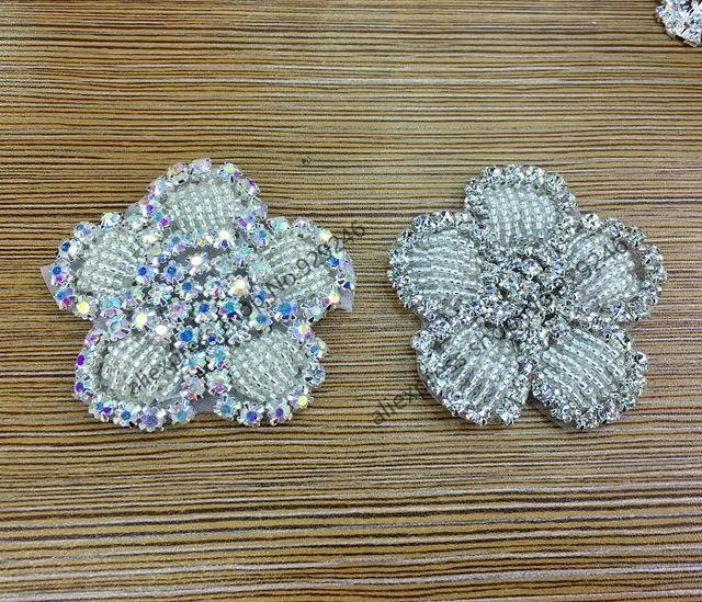 6 шт./лот красивая нежный маленький цветок отделкой ab кристалл горный хрусталь аппликация для головной убор сумка обувь ремесла hat аксессуар