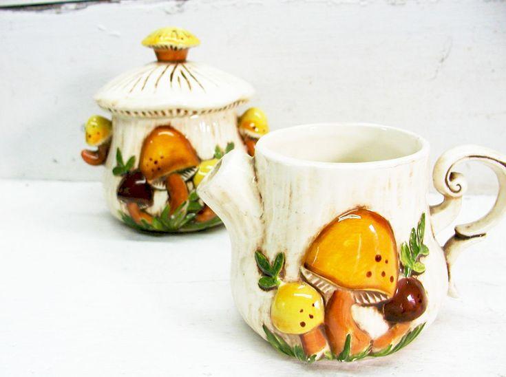 Vintage Retro Mushroom Cream And Sugar Service Arnels
