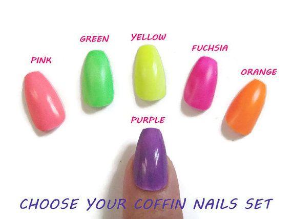 neon colors coffin ballerina false nails uñas glue on summer hip hop pop bachelorette fake nails sexy nails fashion acrylic lasoffittadiste