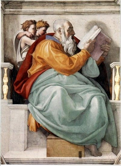 Michelangelo Buonarroti 1475 – 1564  The Prophet Zechariah  Fresco — 1508-1512  Sistine Chapel, Vatican City
