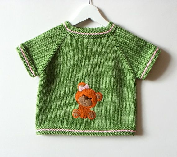 Green baby vest with bear design knitted kids vest with от Tuttolv
