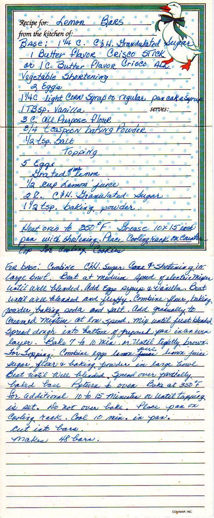295 best Handwritten Recipes images on Pinterest | Vintage recipes ...