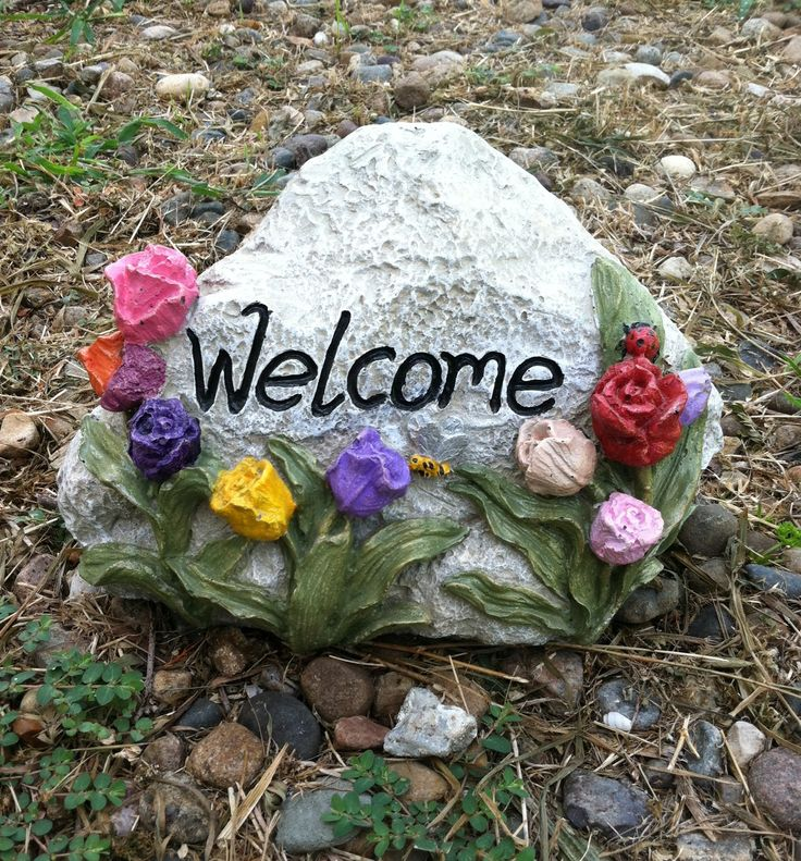 #oneofaFindcreations.com Welcome Rocks Are Painted In Many Colors Or You  Can Paint Them · Concrete GardenConcrete ArtPatio ...