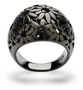 Sterling Silver Flower Dome Ring with Ruthenium Plating By Bastian Inverun (German Made) - Available in Sizes 6, 7, 8 and 9 (6) Bastian Inverun. $225.00