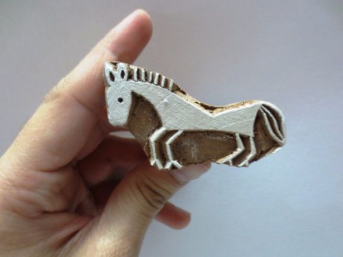 Indian textile wood hand printing block stamp Small Horse henna tattoo - chhaviscollections.artfire.com