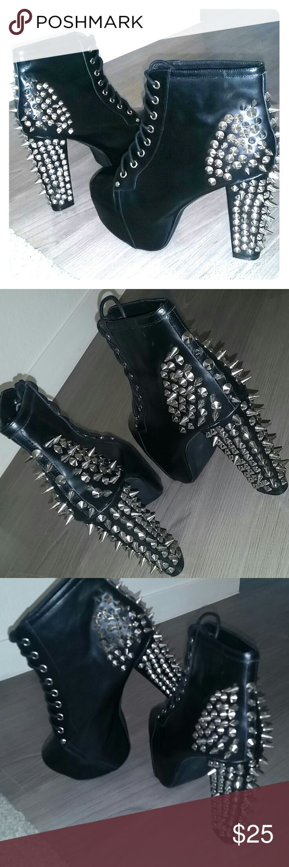Jeffrey Campbell Spiked  Heel boots LIMITED TIME In great condition were only ones authentic Jeffrey Campbell heels Jeffrey Campbell Shoes Heeled Boots
