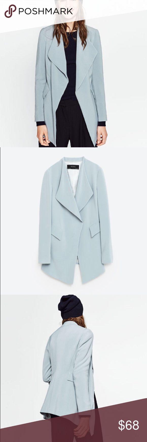 Zara flowing crepe blazer-- small Love blue/ grey color.... relaxed blazer yet polish up any outfit Zara Jackets & Coats Blazers