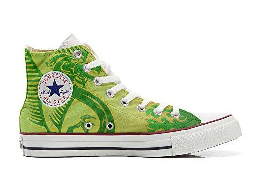 Converse All Star personalisierte Schuhe (Handwerk Produkt) Dragone verde, sfondo giallo - size EU46 - Sneakers für frauen (*Partner-Link)