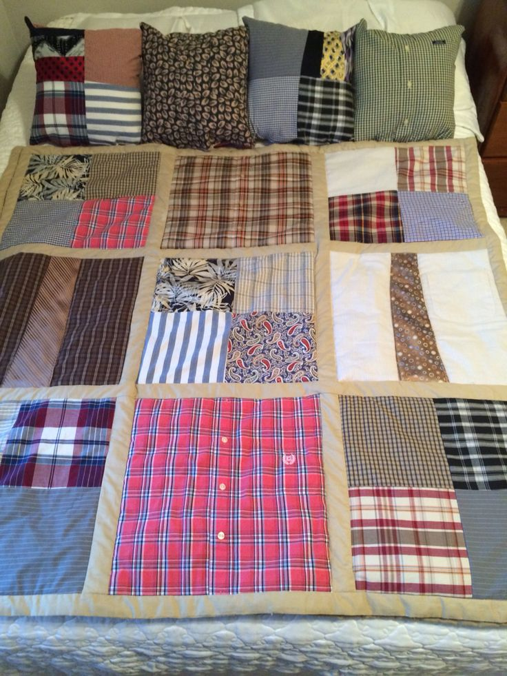 Pillows and memory quilt made from a loved ones shirts