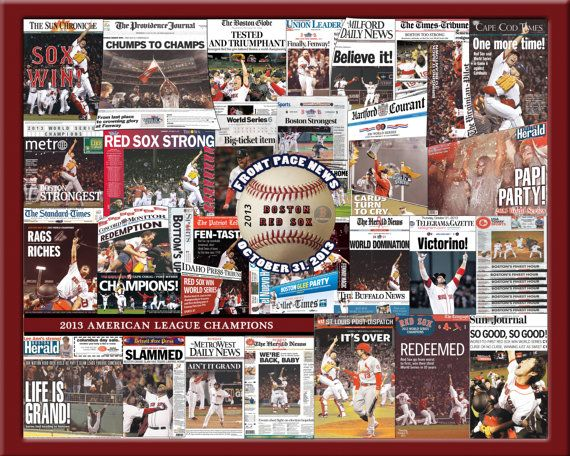 Red Sox 2013 World Series Newspaper Collage Print by TheMosaicGuy, $19.99 #redsox#2013 world series#red sox