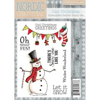 Crafters Companion Nordic Christmas A6 Stamp Cool Christmas Snowman