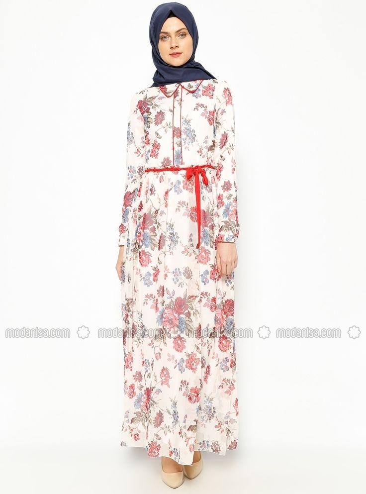 Çiçekli Şifon Elbise - Kırmızı - Esswaap