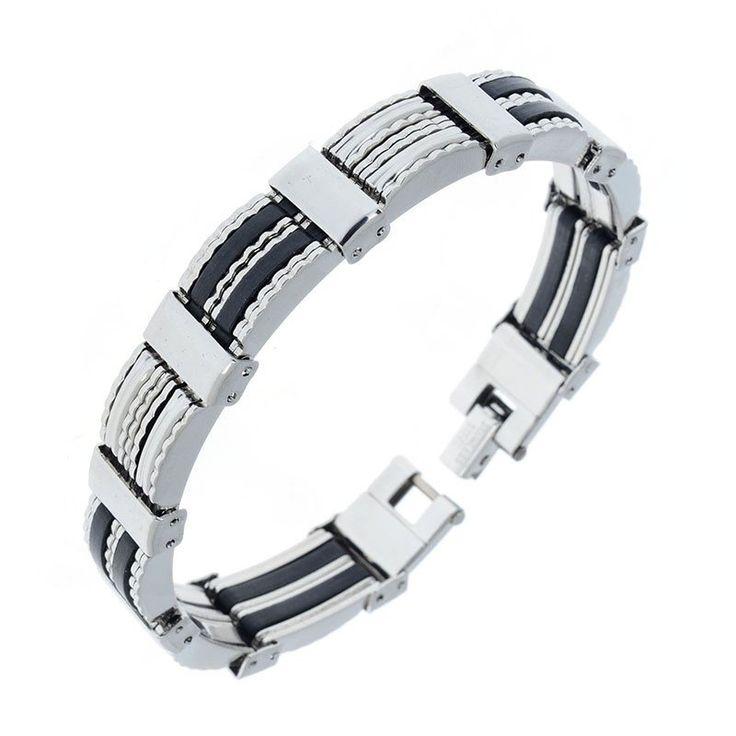 Men Steampunk Stainless Steel Bracelet Hand Chain Wristband Bracelets Biker Motorcycle Link