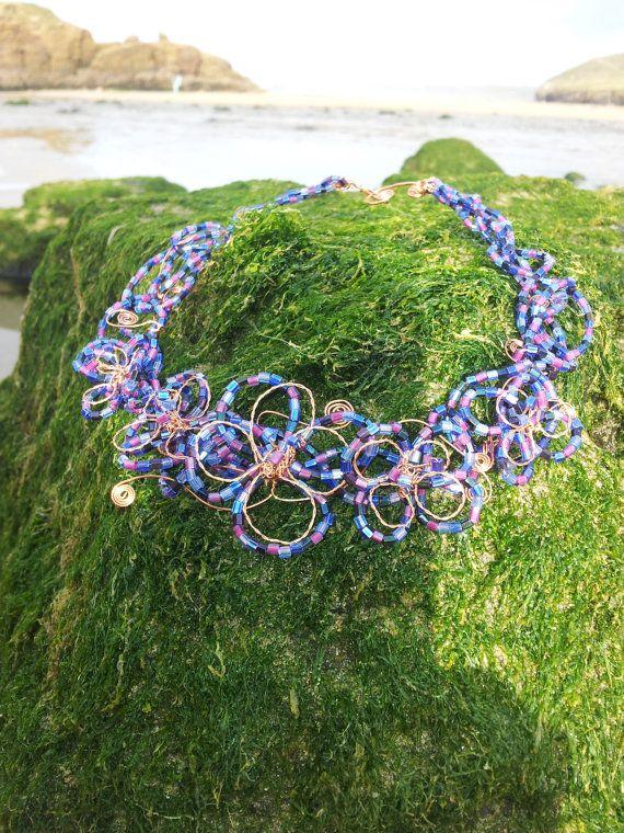 Harlequin Flower Purple Beaded Copper Wire by OnenJewellery, £25.00