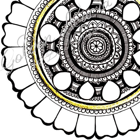 Leo Mandala: Intricate Pen and Ink painting with gold leaf detail, representing flowers, nature, the earth, moon, sun and spiritual energies on Etsy, $25.00 AUD