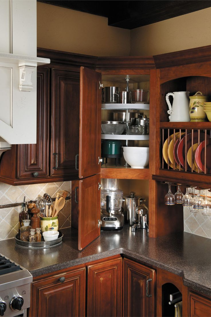 Easy Reach Upper Cabinet: I can see everything I need when I open the  doors. It's so much better than diagonal one and you will be in love with i