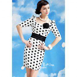 $14.22 Lady Style Elegant Large Polka Dot Embellished Short Sleeves Dress For Women