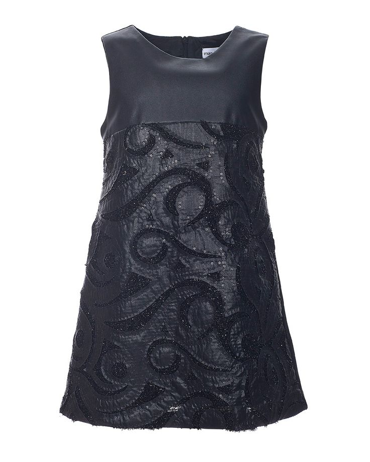 Marasil black A-line dress in faux leather