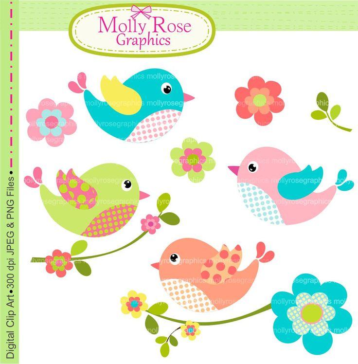 clip art , Birds clip art , Digital Clip Art birds flowers, Invitation ,Card Making ,Scrapbooking , pink , blue birds  M.38 INSTANT DOWNLOAD. $5.00, via Etsy.