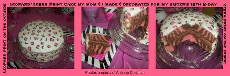 We used the Leopard print decoration instructions and Zebra print tutorial from mycakeschool.com ~LaTia Coleman|  Leopard print-( http://www.mycakeschool.com/blog/leopard-print-cupcakes/) Zebra print- (http://www.mycakeschool.com/blog/how-to-make-a-cake-with-zebra-stripes-on-the-inside/)