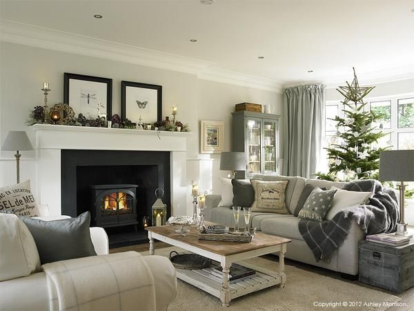 Neutral Traditional Living Room With Log Fireplace See More A Few Of My Favourite Paint Colours Natural Calico