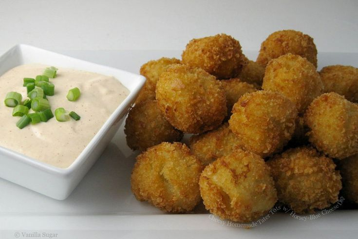 cheesy homemade tater tots with horsey-blue cheese dip
