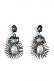 Green And Blue Spiked Pendant Earrings by Anton Heunis