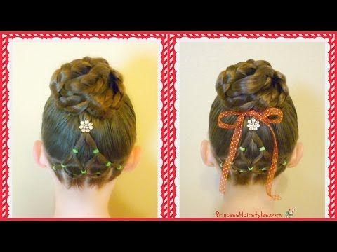 Elegant Elastic Christmas Tree Hairstyle & Bun   Hairstyles For Girls - Princess Hairstyles