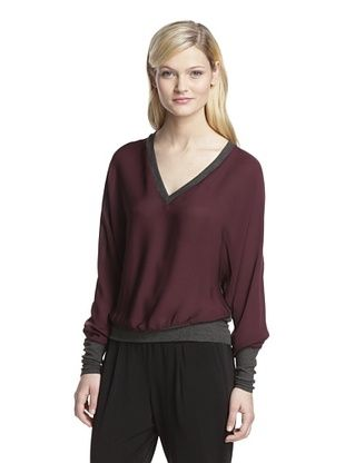 51% OFF SEN Women's Bella V-Neck Top (Burgundy)