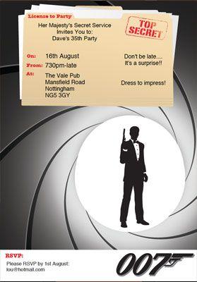 James Bond Invitations   ... friends into the james bond ...