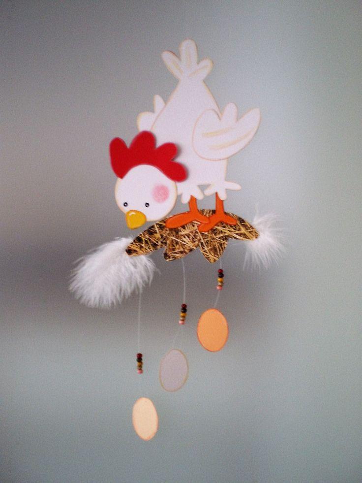 Superb Fensterbild Huhn auf Stroh Ostern K che Dekoration Tonkarton FOR SALE u