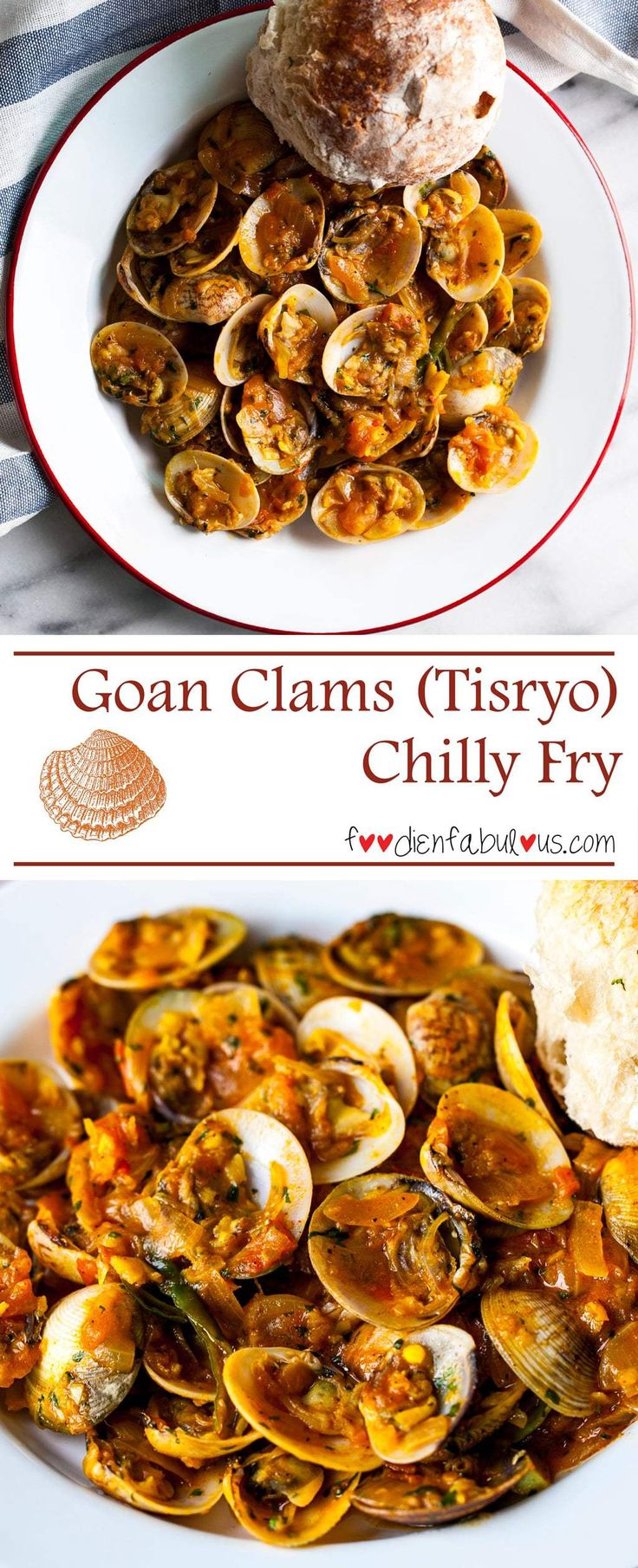 Tangy, yet spicy kick to this famous Goan Clams Chilli Fry recipe that is in every restaurant/shack menu in Goa. Perfect with crusty bread.