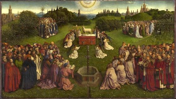 """Jan (and Hubert) Van Eyck, Ghent Altarpiece or The Adoration of the Mystic Lamb, tempera and oil on panel, 11' 5"""" x 15' (open panels)."""