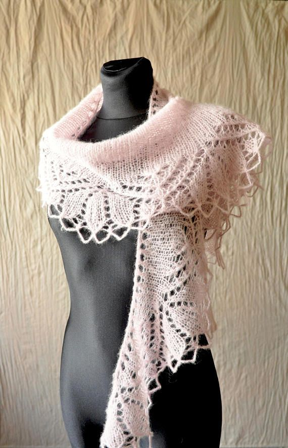Pale pink hand knit scarf made of soft yarn (blend of alpaca and silk). Shawlette perfect for romantic girls. This beautiful scarflette is adorned with delicate lace edge. Shawl soft, delicate and very light (weight approx 50g). Color: pale pink, ballet slipper. Because of different monitors and screen resolutions, color may look different on the screen than reality.  You can order such shawl in different color.  Measurements: length: approx. 174 cm [68.5] width (at its widest point)…