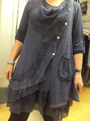 NAVY 2 PIECE COWL NECK JERSEY & WOOL TOP LAGENLOOK/LAYERING TUNIC-SIZE XL 16-18