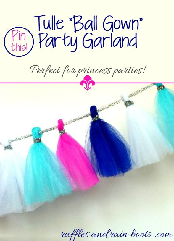 Tulle Ball Gown Party Garland from Ruffles and Rain Boots. Have some left over tulle? Craft this ball gown style banner in 15 minutes.
