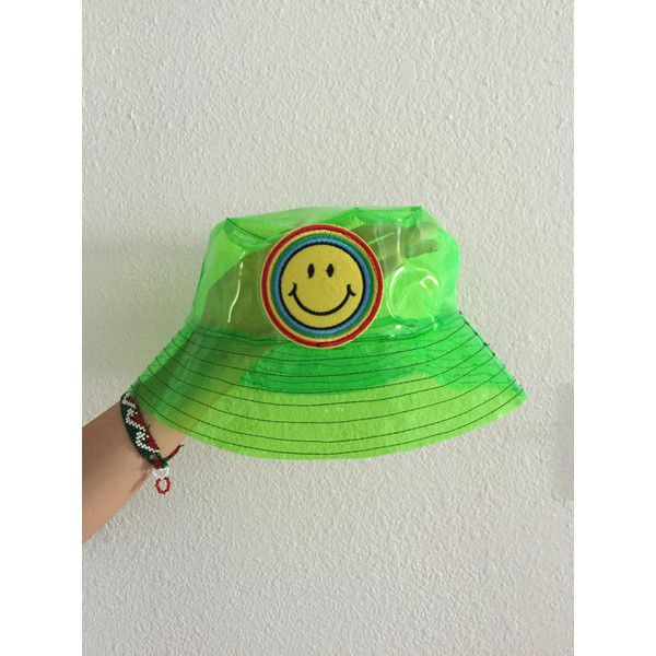 Green neon smiley face bucket hat, grunge bucket hat, rave, vapor... ($39) ❤ liked on Polyvore featuring accessories, hats, neon green hat, neon hats, fishing hats, vinyl hat and bucket hats